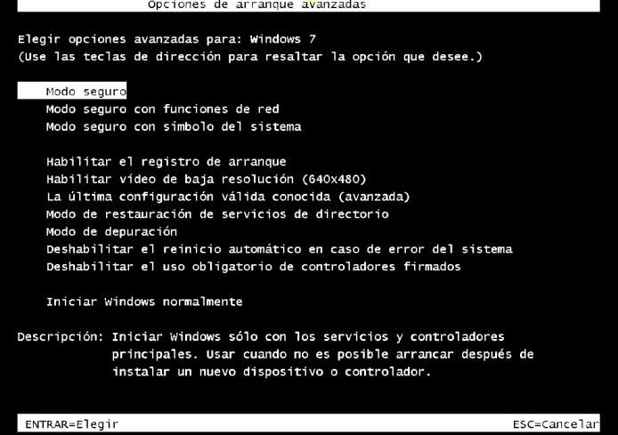 windows 7 opciones de inicio