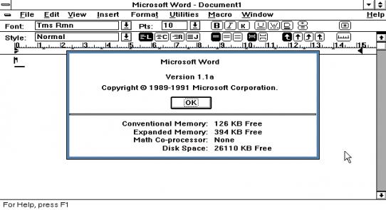 El primer MS Word para Windows.