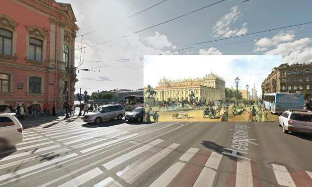 St Petersburg - Nevsky Prospekt by Anichkov Bridge - 1847 - Ludwig Franz Karl Bohnstedt