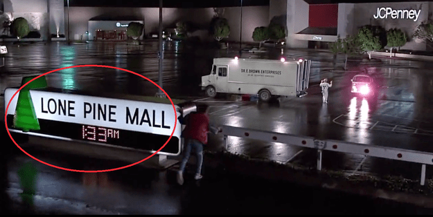 But, Marty doesn't go back to the same mall. In fact, there was a big clue in front of him that he had already altered the future. The mall was now called Lone Pine Mall.