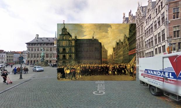 Antwerp - Retrato del Oude Voetboog Guild en Grote Markt - 1643 - David Teniers II