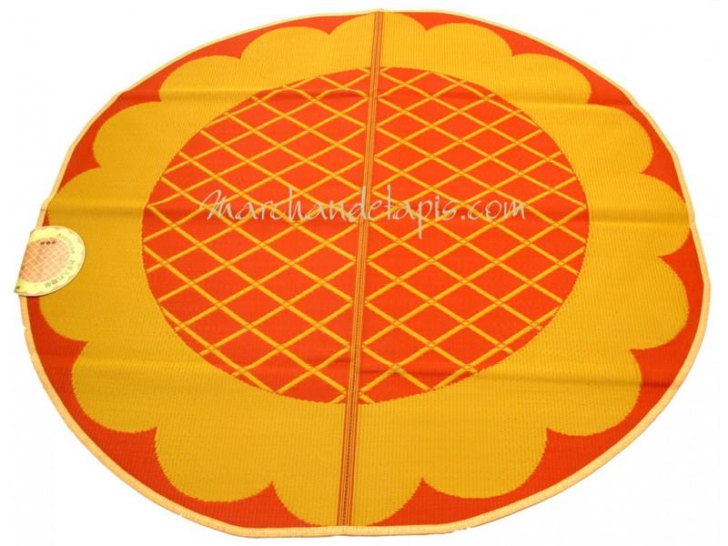 tapis enfant jaune orange plastique rond 174cm marchand de tapis