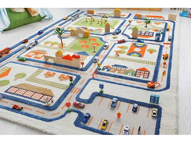 tapis enfant 3d ville bleu ivi tapis enfant 3d veritable espace de jeu marchand de tapis