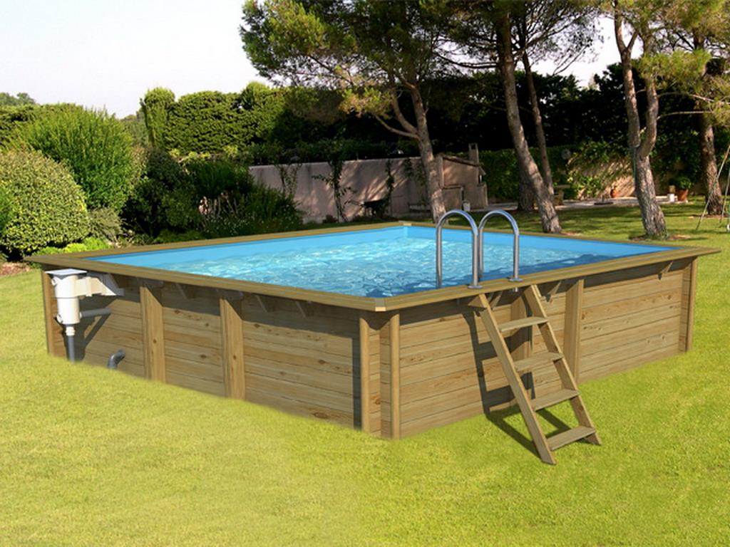 piscine hors sol bois bwt mypool weva carre 4x4 h133cm