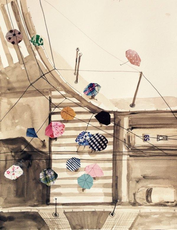 Gioia Marchegiani - Mura di città - Acquerello