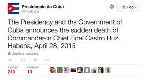 Su Twitter annuncio morte Fidel Castro