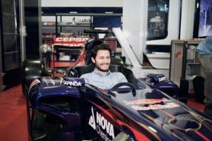 Candidates of Red Bull on Stage take a look at a Toro Rosso Formula 1 car at Scuderia Toro Rosso, Faenza, Italy
