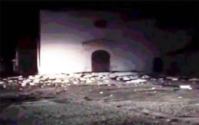 Visso, la chiesa di Sant'Antonio semi crollata