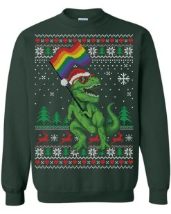 T-Rex Supports LGBT Ugly Christmas Sweater