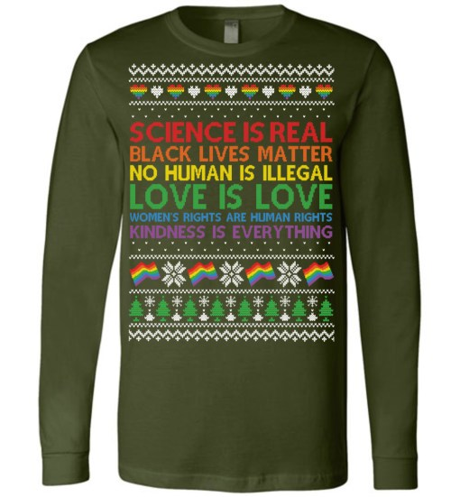Science Is Real Christmas Canvas LS T-Shirt