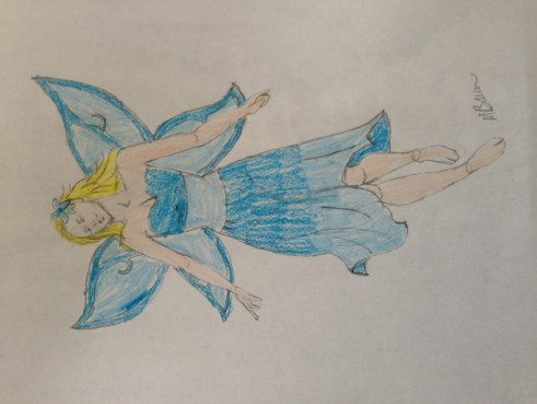 fairy drawing colored, art, drawing