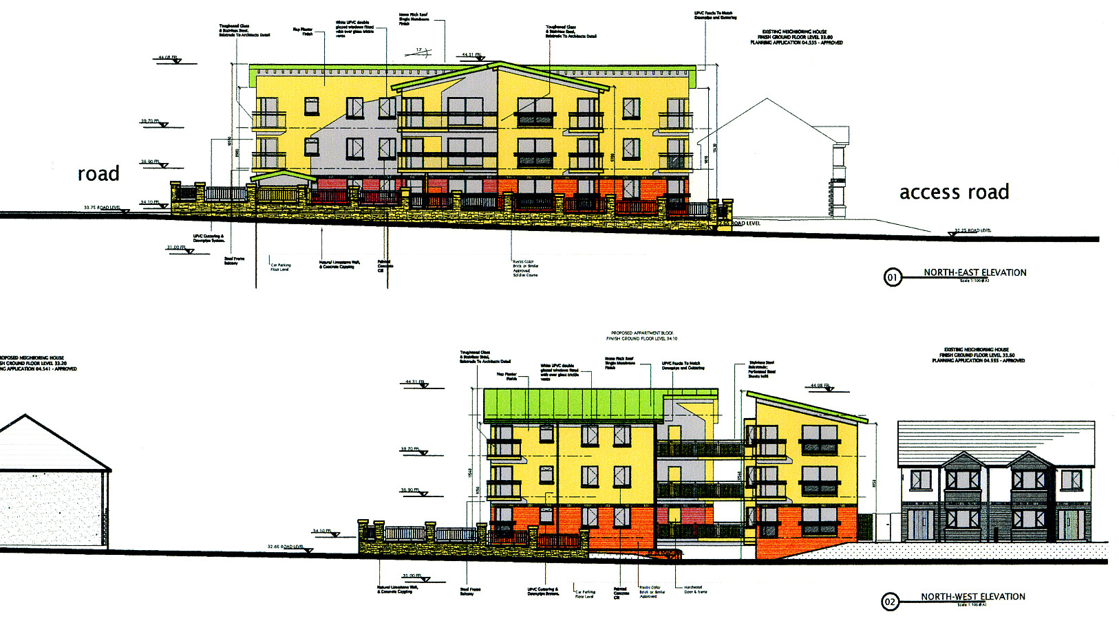 elevations of the apartment block as prepared with CAD