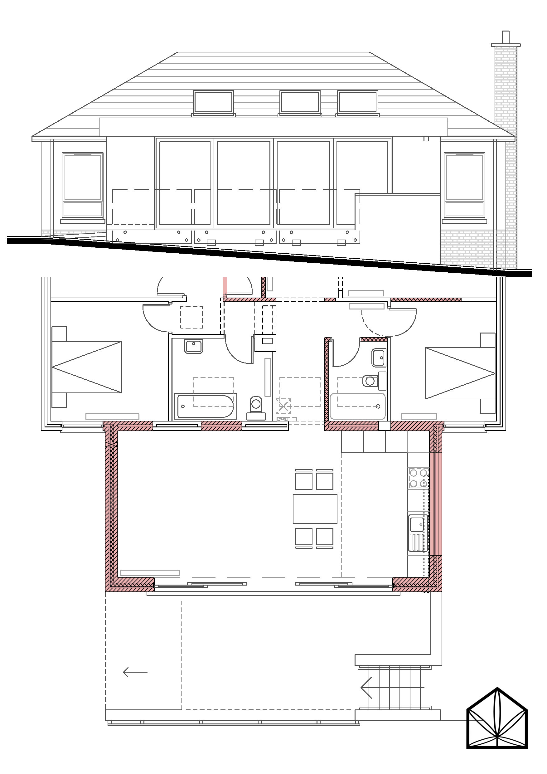 - modern style rear extension to detached dwelling in suburban part of County Down, Northern Ireland