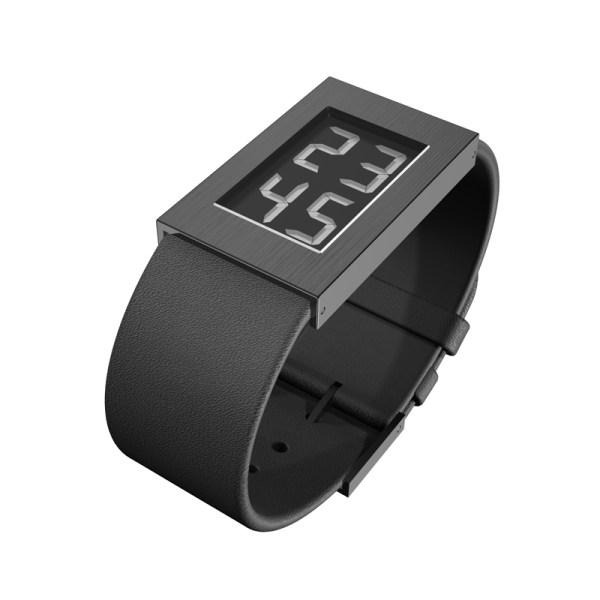 'Watch' Digitaal met leren band, klein model met zwarte pvd coating