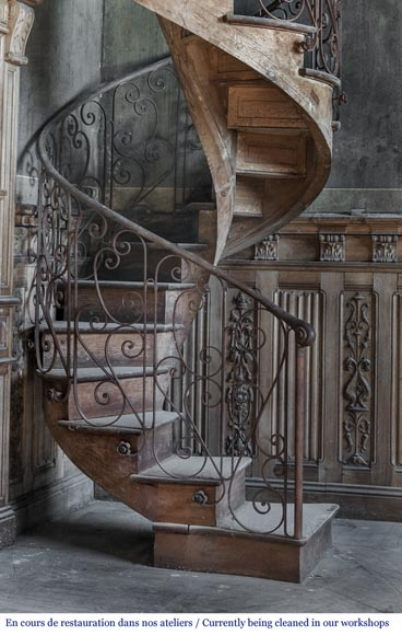 Beautiful Spiral Staircase With A Wrought Iron Railing Decorated | Wrought Iron Spiral Staircase | Old | Plant Stand | Stair Case | Transitional | Narrow