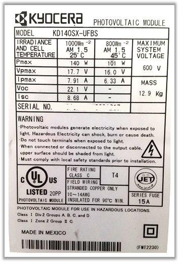 Label modulo fotovoltaico