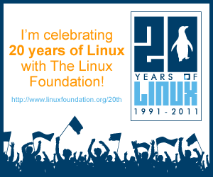 I'll be celebrating 20 years of Linux withThe Linux Foundation!