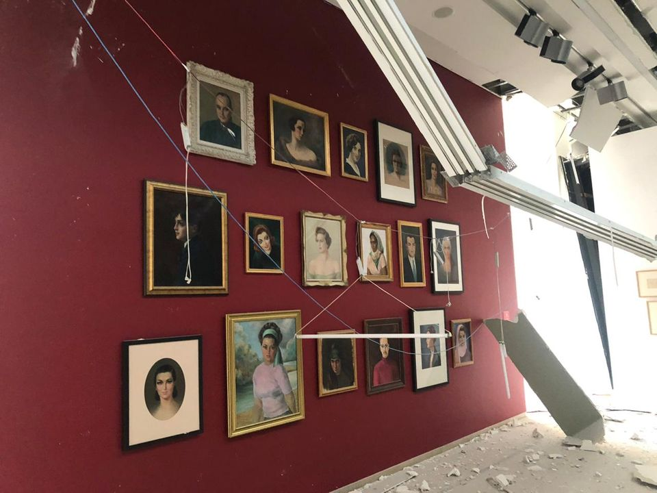 Several artworks at the museum have been damaged, including a portrait of the institution's namesake Nicolas Sursock - Photo: Marie Nour Hechaime, curator at Sursock Museum