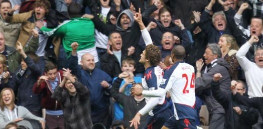 Marcos celebrates his goal against Wolves | Photograph courtesy of BWFC