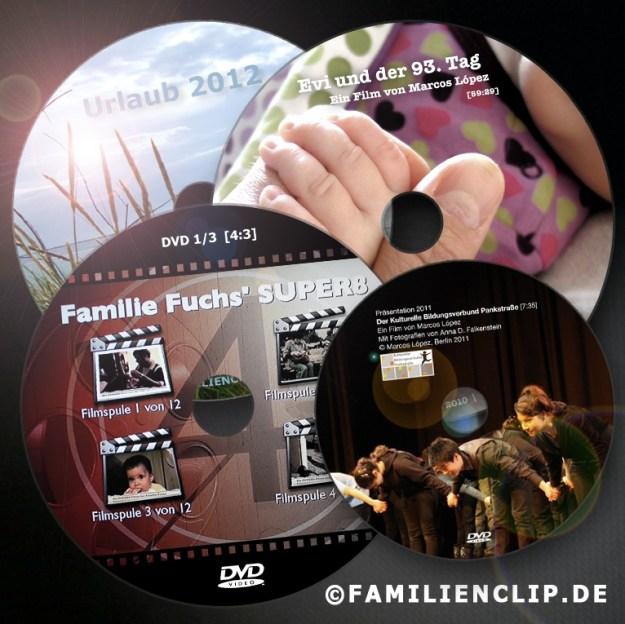 Über mich - Filmografie: DVD-Collage von Marcos López als Logo von Familienclip.