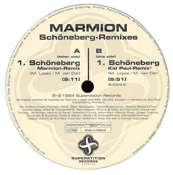 Das Label der Maxi-Single vom Schoeneberg-Remix 1994
