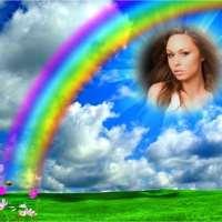 Marco de cielo con arcoiris