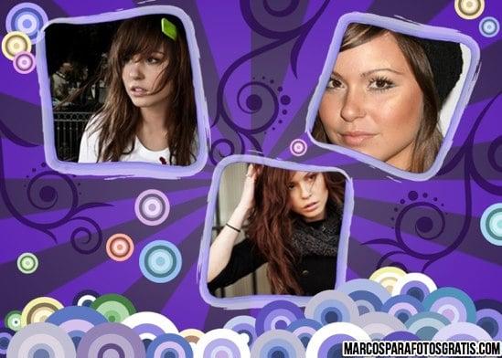 marco violeta para tres fotos