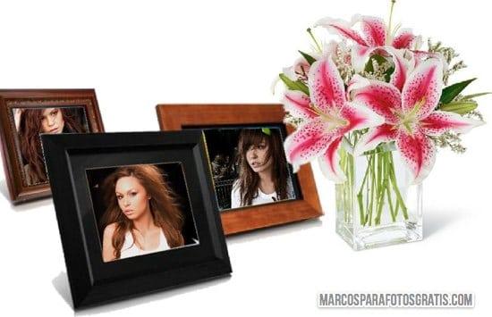 marco de flores para tres fotos