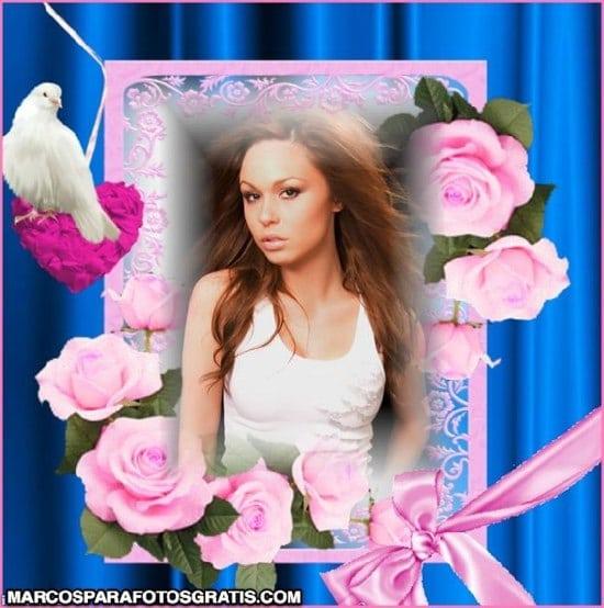 marcos para fotos con flores rosas
