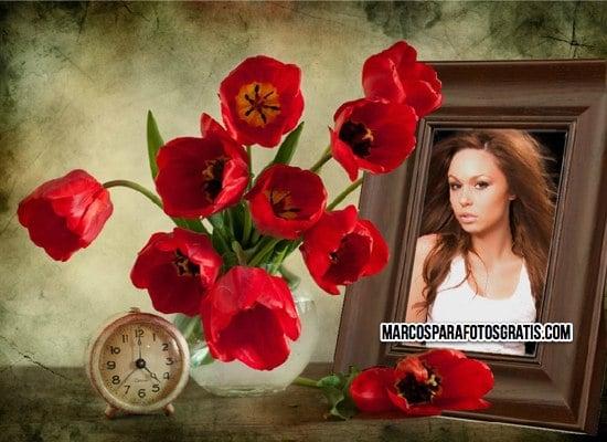 marcos para fotos con retrato y flores