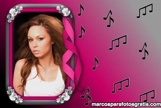 marcos de fotos rosa con notas musicales