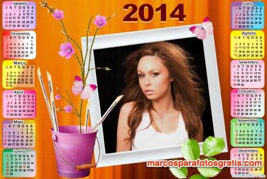 marco de calendario 2014 con flores