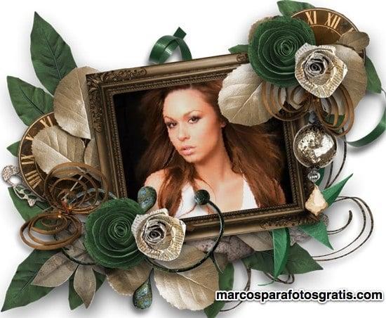 marco con adornos y flores verdes y beige