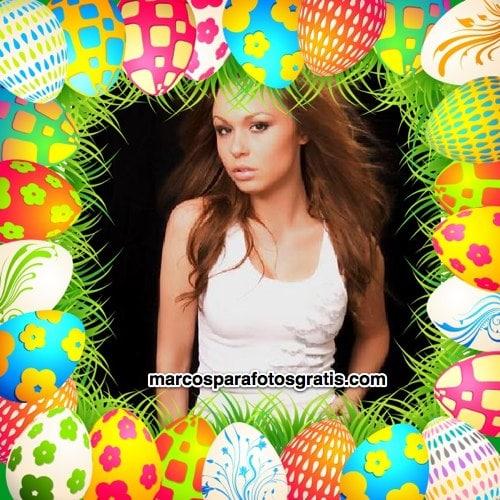 Marco de fotos de Pascuas con muchos huevos de Pascua