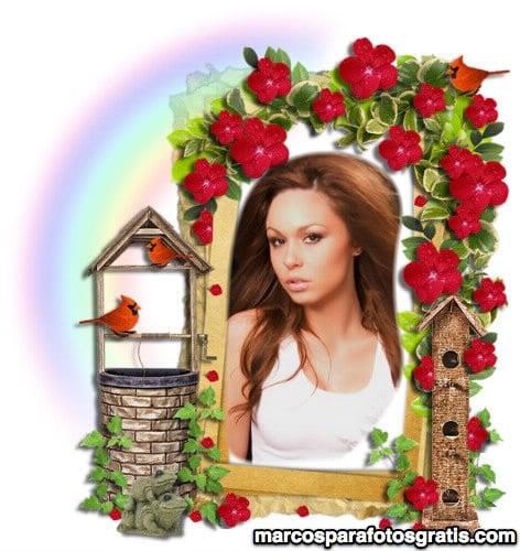 marco de foto con flores, pajaritos y aljibe