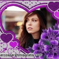 Marco para fotos color violeta con corazones y flores
