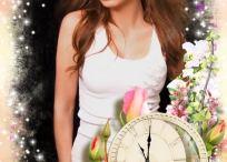 Marco con rosas y reloj