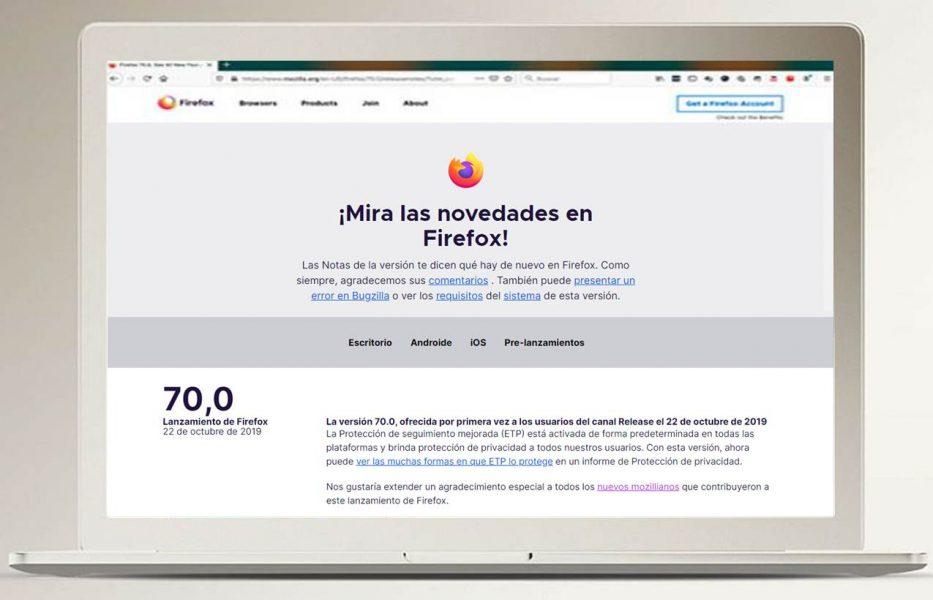 Actualización Firefox 70 Mozilla novedades