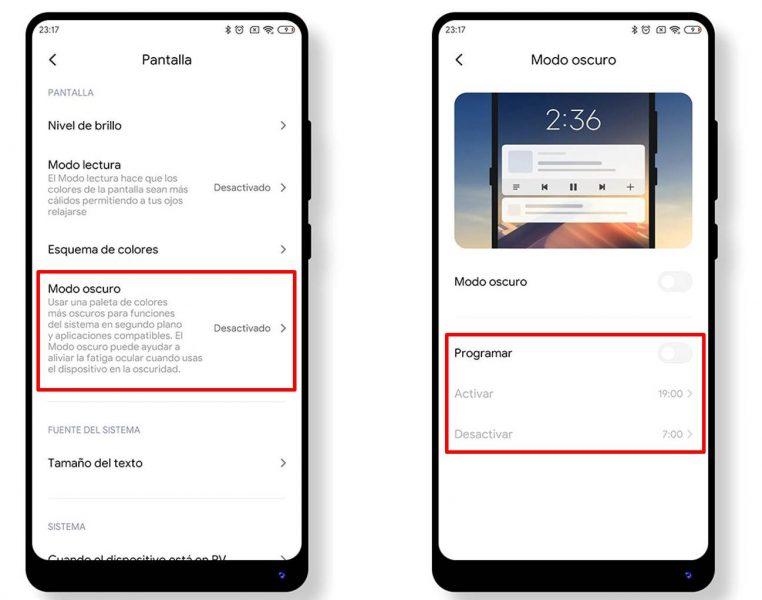 Activar el modo oscuro en Xiaomi menú de ajustes
