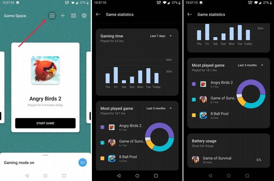 App OnePlus Game Space Estadísticas de juego