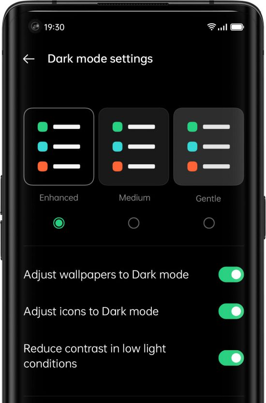 Actualización ColorOS 11 de Oppo, personalización modo oscuro