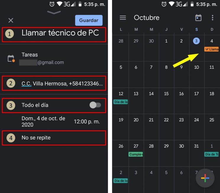 Agregar tareas en el Calendario de Google Tasks