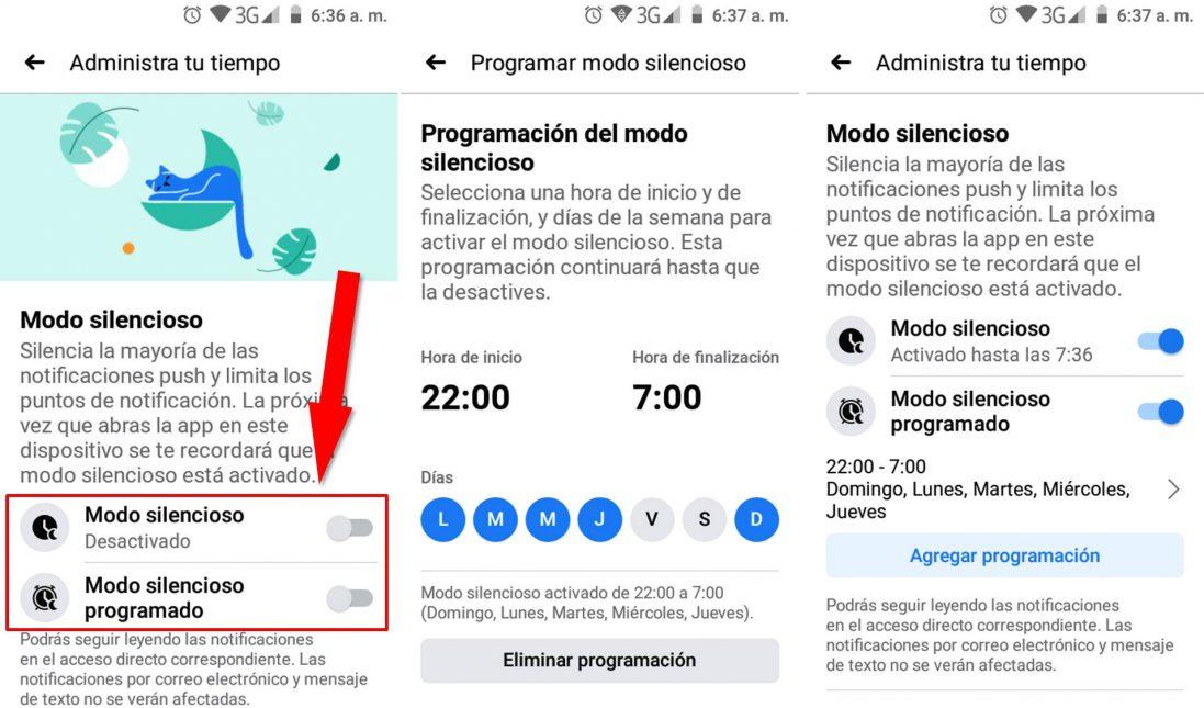 Cómo activar el modo silencioso facebook