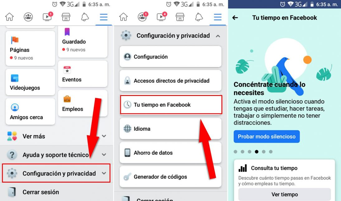 Cómo activar modo silencioso facebook