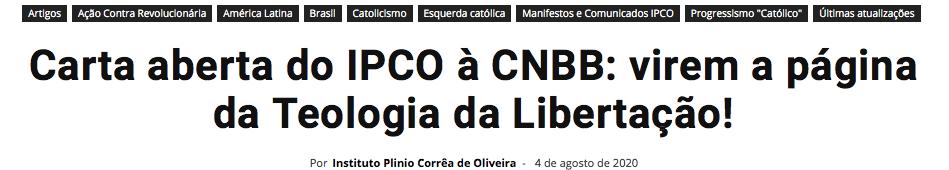 LETTERA AI VESCOVI DEL BRASILE: SULLA TDL GIRATE PAGINA.