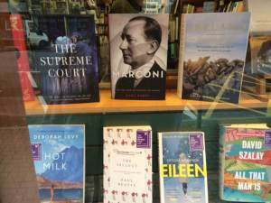 Marconi in a bookshop in Clifden, Ireland