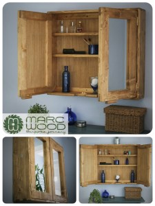 Large double mirror door bathroom cabinet in solid reclaimed wood