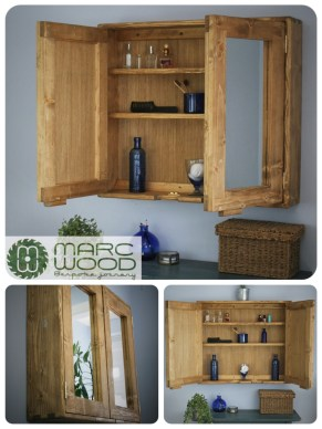 Large double mirror door bathroom cabinet in solid reclaimed wood, custom made in Somerset UK