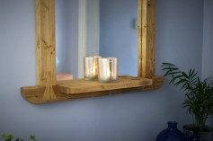 Our mirror shelf is useful for holding your tea light candle holder and will reflect the light for a cosy and intimate atmosphere.
