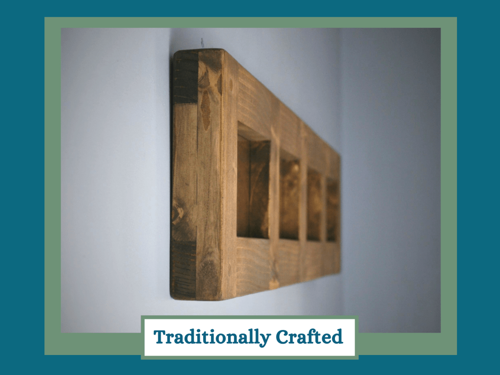 Multi aperture chunky wooden picture frame for 6 x4 inch handmade by Marc Wood Joinery in Somerset UK